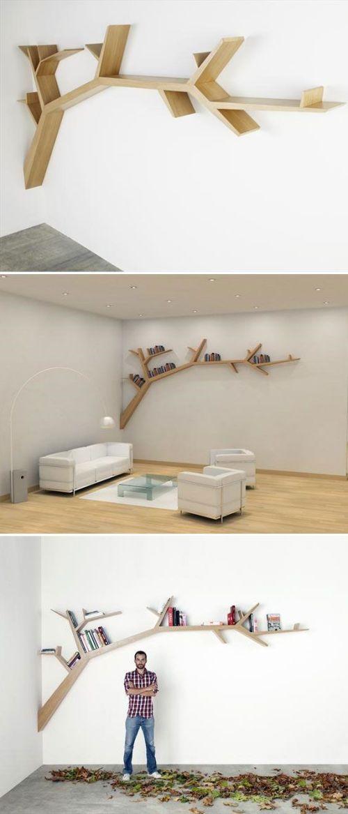 Modern, faágat szimbolizáló polcrendszer